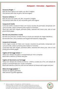Menu do Sergio Crivelli - Ristorante Italiano